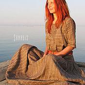 Одежда ручной работы. Ярмарка Мастеров - ручная работа Длинное платье из льна «Свободный стиль». Handmade.