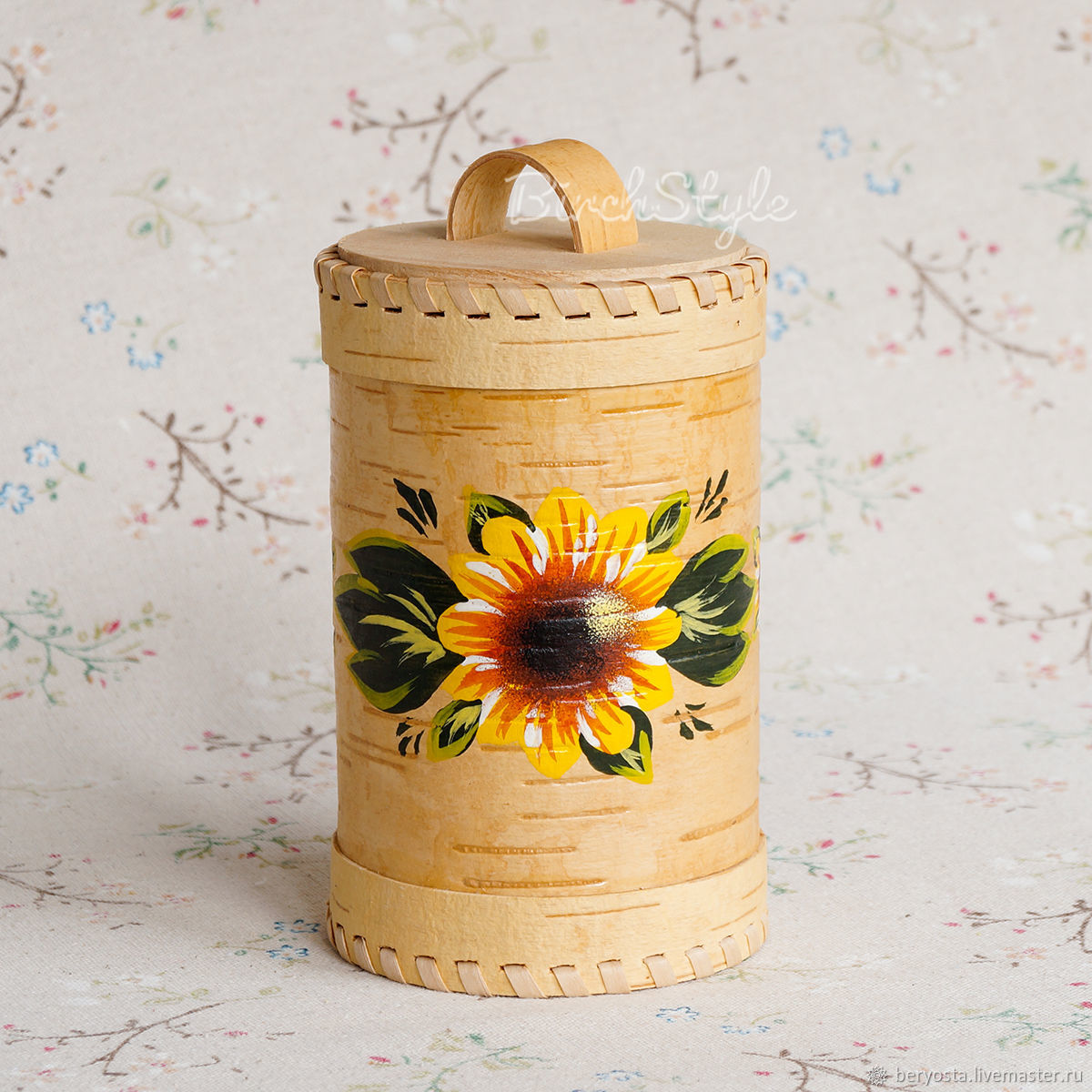 Box of birch bark 'Sunflowers' 8h14. capacity for bulk, Ware in the Russian style, Novosibirsk,  Фото №1
