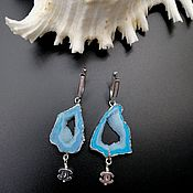 Украшения handmade. Livemaster - original item Silver earrings: with blue geodes agate Archipelagos-3. Handmade.