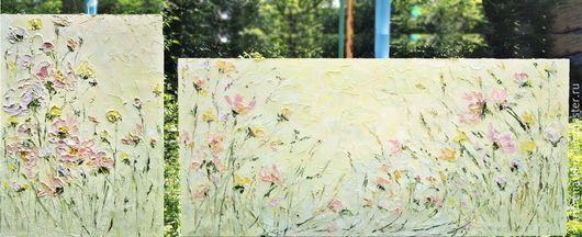 Комплект картин на заказ в спальню. Картины маслом с цветами цвета топленого молока и болотного цвета трав на холсте с подрамником.  Марина Маткина Пермь
