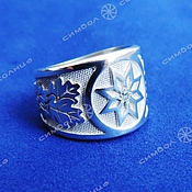 Русский стиль handmade. Livemaster - original item Ring Alatyr (oak leaves). Handmade.