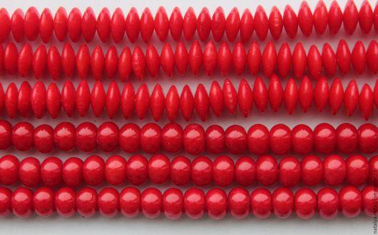 Для украшений ручной работы. Ярмарка Мастеров - ручная работа. Купить Коралл красный бусины-рондели 2 размера. Handmade.