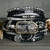 Украшения handmade. Livemaster - original item Black leather bracelet in Boho style