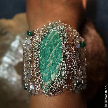 Украшения ручной работы. Ярмарка Мастеров - ручная работа ажурный браслет с амазонитом. Handmade.