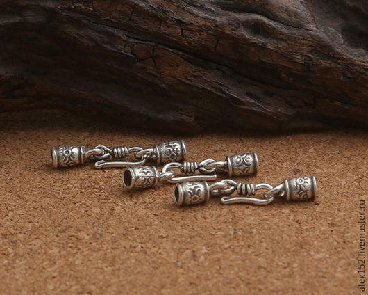 Для украшений ручной работы. Ярмарка Мастеров - ручная работа. Купить Серебро 925 ( окс)  крюк  и вставки 30 х4,5 м  для кожаного шнура 3 мм. Handmade.