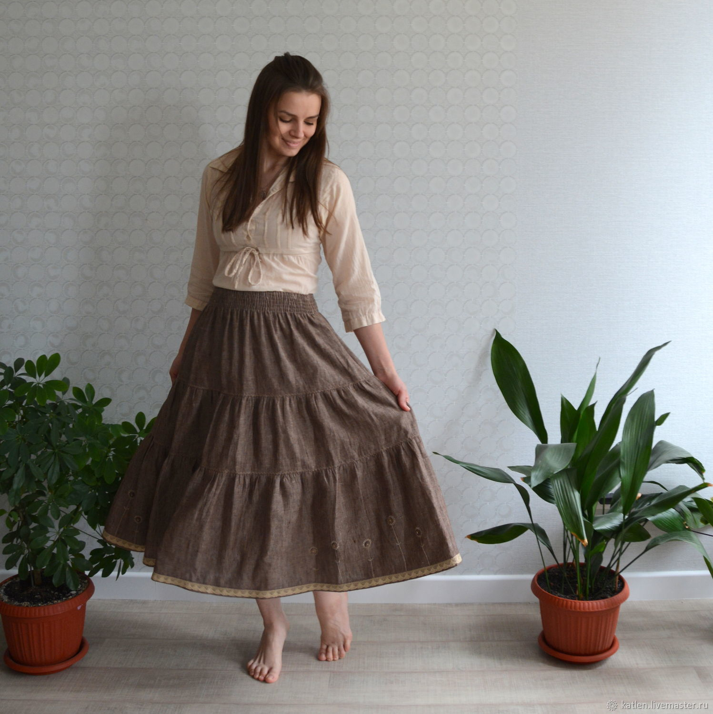 3e03de1416 Skirts handmade. Livemaster - handmade. Buy Skirt tiers  Flax chamomile .