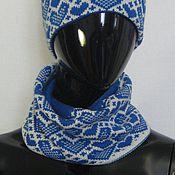 Аксессуары ручной работы. Ярмарка Мастеров - ручная работа снуд вязаный миниснуд Валентинка синяя. Handmade.