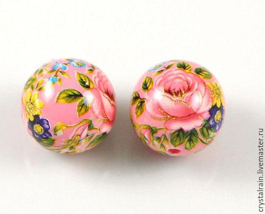 """Для украшений ручной работы. Ярмарка Мастеров - ручная работа. Купить Бусины Тенша """"Розы на розовом фоне фоне"""" 12 мм (арт. 39 ОР ). Handmade."""