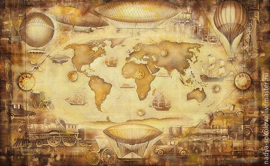 Фантазийные сюжеты ручной работы. Ярмарка Мастеров - ручная работа. Купить Карта путешествий. Handmade. Желтый, карта мира