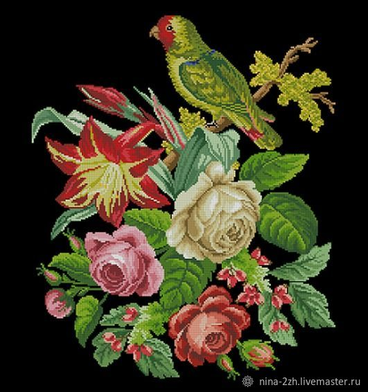 The scheme for embroidery: Green parrot in flowers, Patterns for embroidery, Penza,  Фото №1
