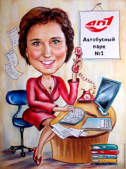 Шарж для бизнес-леди 21х30 см Шаржи на заказ Подарок ручной работы Подарок коллеге Подарок начальнице