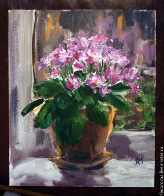 Картины цветов ручной работы. Ярмарка Мастеров - ручная работа. Купить Розовая фиалка, картина маслом. Handmade. Розовый