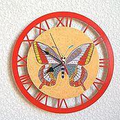 Для дома и интерьера handmade. Livemaster - original item Wall clock Butterfly clock handmade. Handmade.