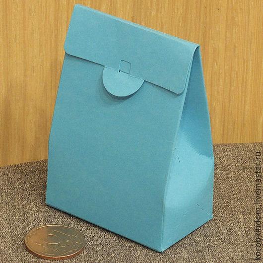 Упаковка ручной работы. Ярмарка Мастеров - ручная работа. Купить Коробочка-пакетик 6х9х3,5 см голубой. Handmade. Коробочка