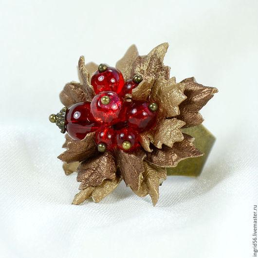 Кольца ручной работы. Ярмарка Мастеров - ручная работа. Купить Кольцо из натуральной кожи и бусин Осенняя ягодка - 2. Handmade.