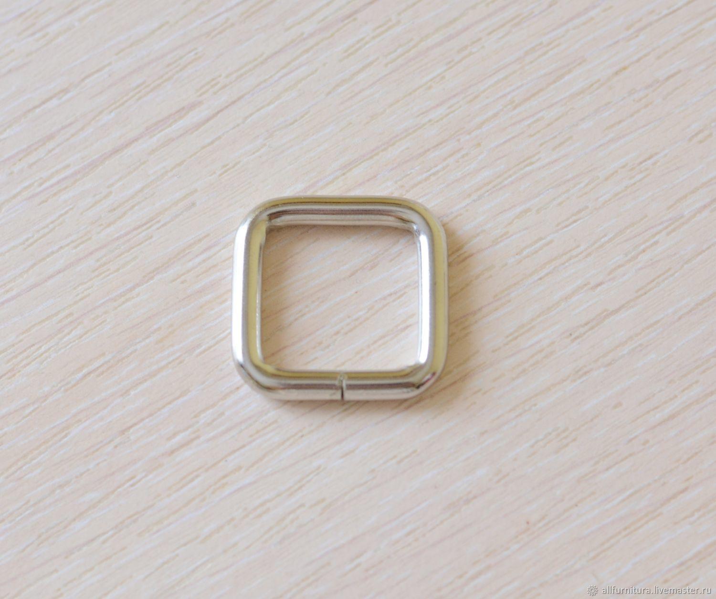 Рамка прямоугольная 20х20мм (4мм) никель, Фурнитура для шитья, Ейск,  Фото №1
