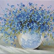 Картины и панно handmade. Livemaster - original item Forget-me-nots in a vase. Handmade.