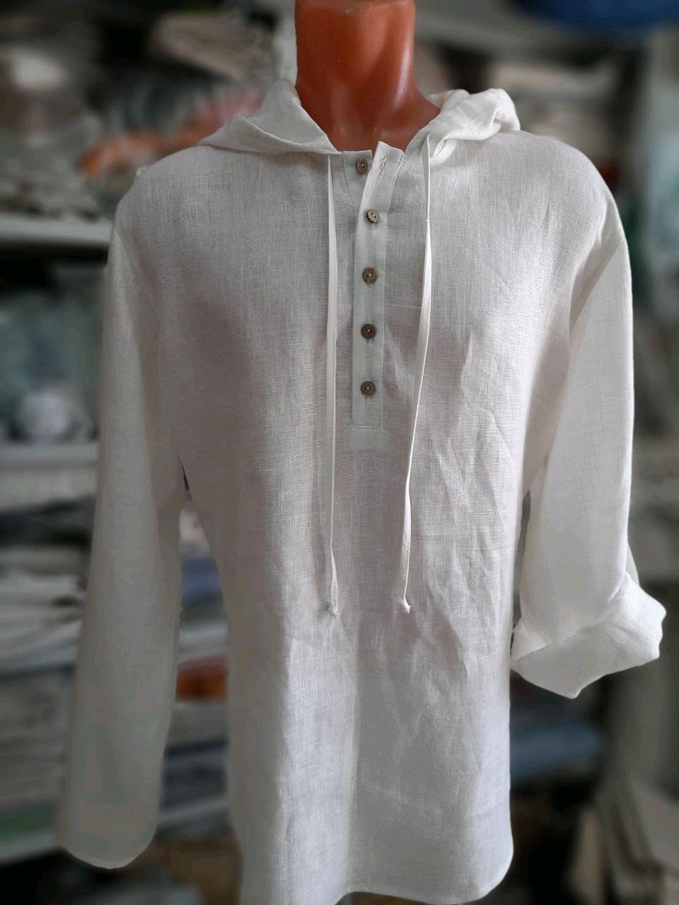 Рубашка лен 100% с капюшоном, Рубашки мужские, Кострома,  Фото №1