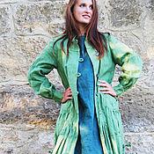 Одежда ручной работы. Ярмарка Мастеров - ручная работа Льняное пальто «Зеленое яблоко». Handmade.