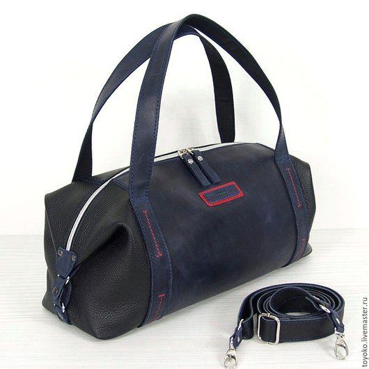 """Женские сумки ручной работы. Ярмарка Мастеров - ручная работа. Купить Кожаная авторская сумка """"Саквояж"""" черный синий цвет. Handmade."""