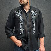 Мужская одежда handmade. Livemaster - original item Men`s linen shirt with embroidery