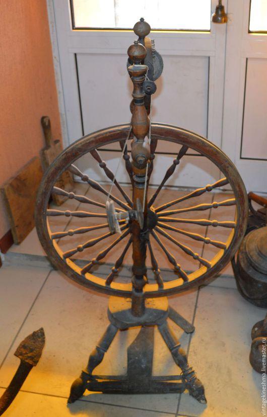 Винтажные предметы интерьера. Ярмарка Мастеров - ручная работа. Купить Старинная прялка с колесом рабочая 19 век. Handmade. Комбинированный