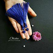 Украшения ручной работы. Ярмарка Мастеров - ручная работа Серьги кисти синего цвета. Handmade.