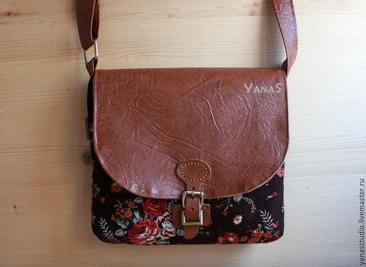 Женские сумки ручной работы. Ярмарка Мастеров - ручная работа. Купить Сумка коричневая с розами. Handmade. Комбинированный