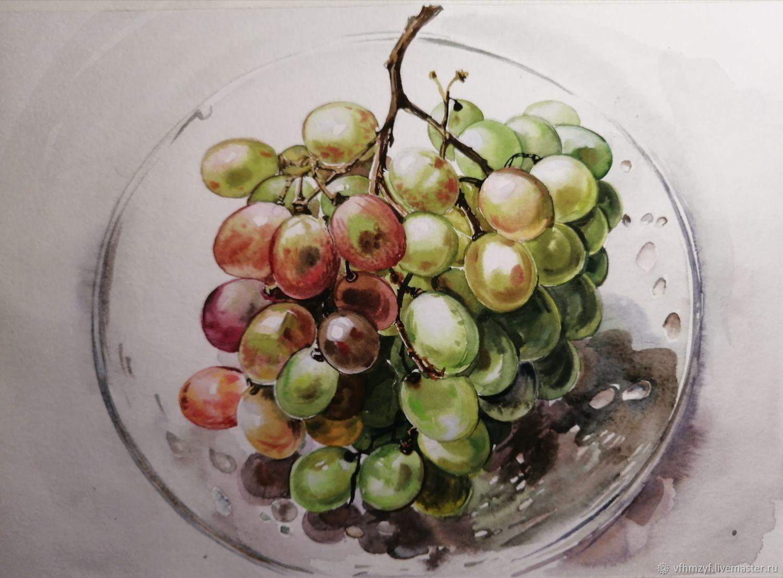 Виноград. Акварель.Розовый, зелёный белый виноград, Картины, Шуя,  Фото №1