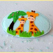 Работы для детей, ручной работы. Ярмарка Мастеров - ручная работа Заколка для волос  Жирафики. Handmade.