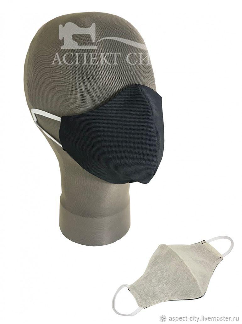 Маска защитная двусторонняя, цвет черный/беж, Защитные маски, Москва,  Фото №1
