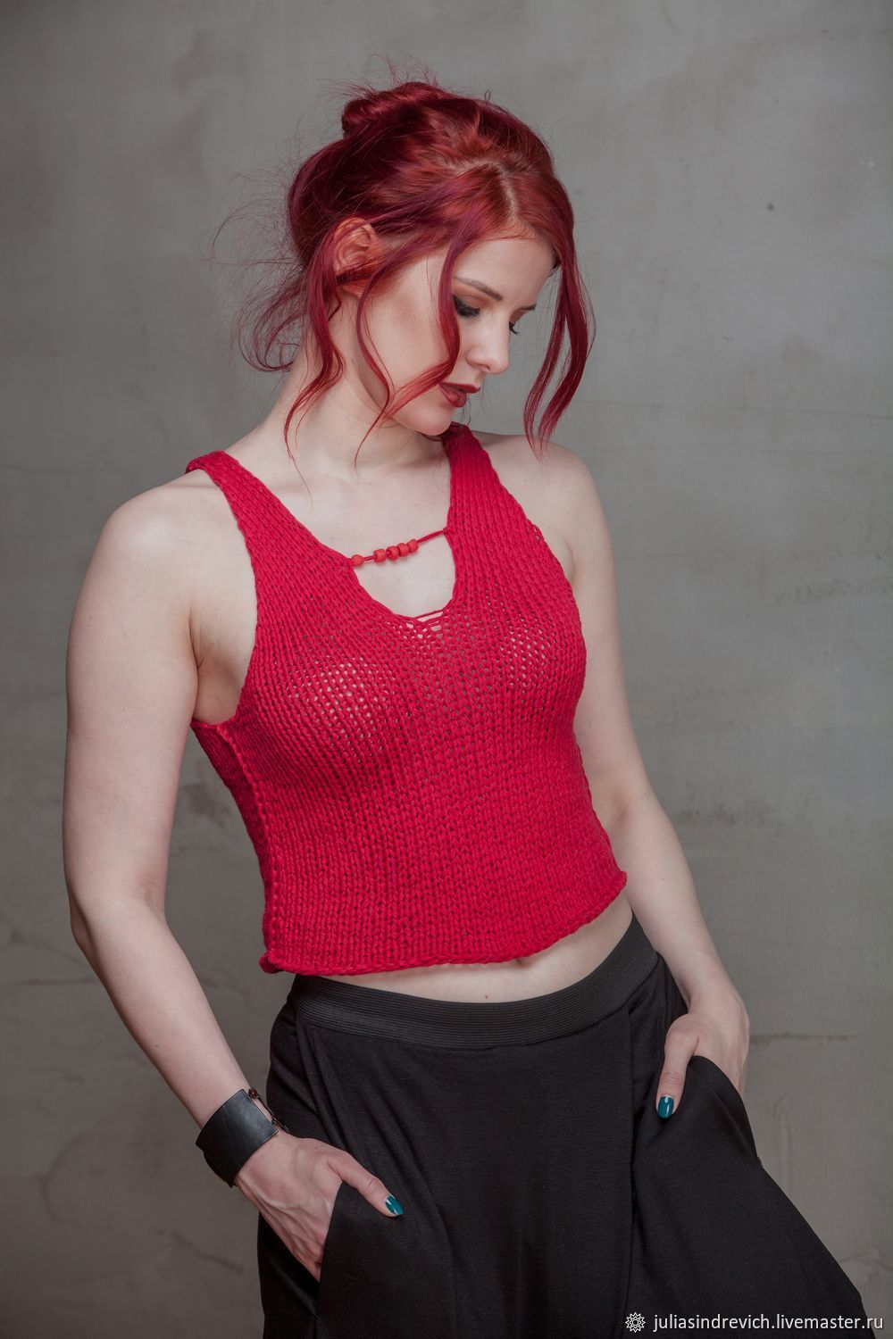 Tops handmade. Livemaster - handmade. Buy S_028 Knit top with beads, color red.Beads, knitted top