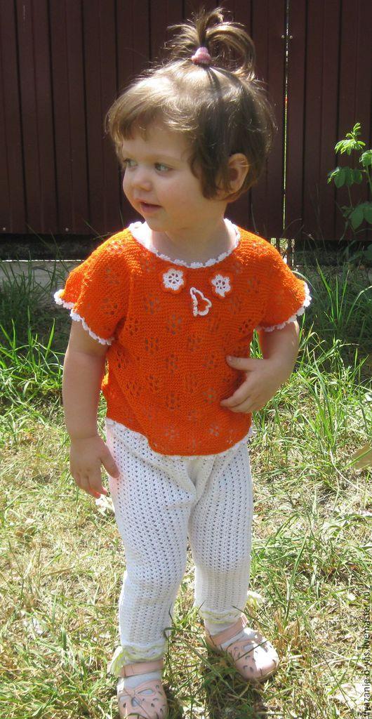 Одежда для девочек, ручной работы. Ярмарка Мастеров - ручная работа. Купить Топ вязаный  для девочки Оранжевое настроение. Handmade. Оранжевый
