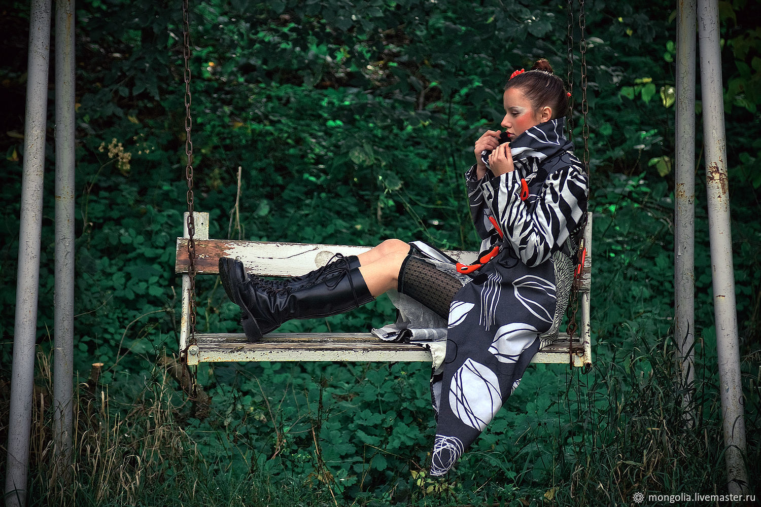 Light Black and White Cotton Coat with Print Stripes, Coats, Rostov-on-Don, Фото №1