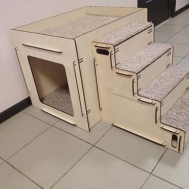 Товары для питомцев ручной работы. Ярмарка Мастеров - ручная работа Лестница + тумба-домик  для животных. Handmade.