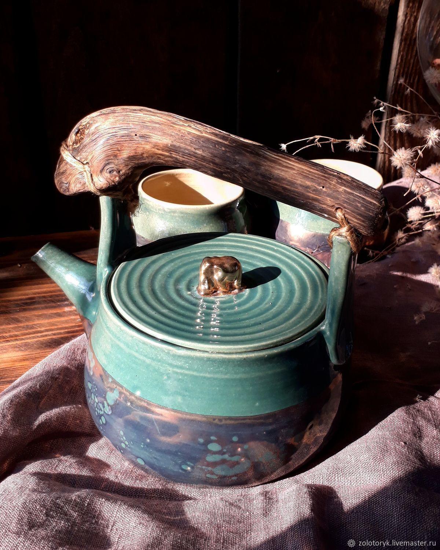 Чайник и 2 чашки с перламутром, Наборы посуды, Бобров,  Фото №1