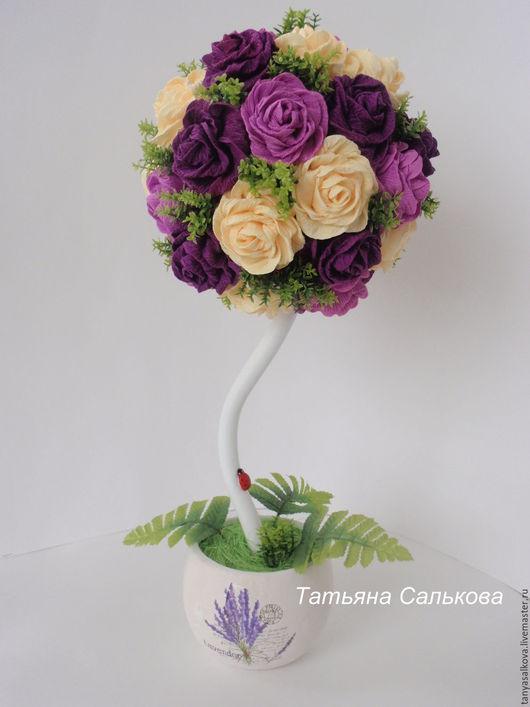 Топиарии ручной работы. Ярмарка Мастеров - ручная работа. Купить Топиарий дерево счастья. дерево из цветов розы подарок. Handmade.