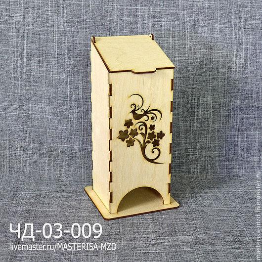 ЧД-03-009. Чайный домик с откидной крышкой. Форма окна - райская птица и веточка. Материал: фанера 3 мм сорт 2/2.