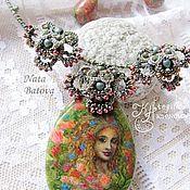 Украшения handmade. Livemaster - original item Set of jewelry with a painting on the stone