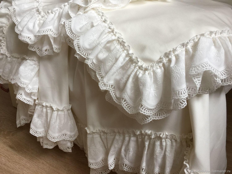 Satin bed linen 'Milk dessert' Euro size, Bedding sets, Ivanovo,  Фото №1