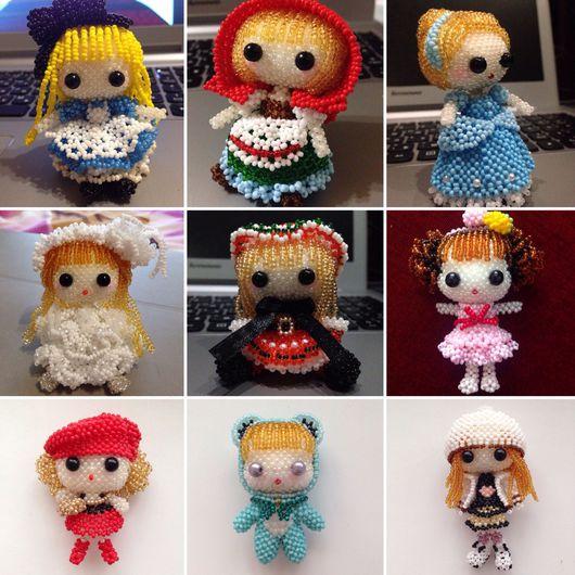 Сказочные персонажи ручной работы. Ярмарка Мастеров - ручная работа. Купить Куклы из бисера. Handmade. Ярко-красный