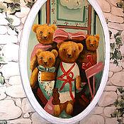 Винтаж ручной работы. Ярмарка Мастеров - ручная работа Мишки Тедди семья, картина , масло, дерево. Handmade.
