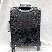 Сумки и аксессуары handmade. Livemaster - original item Suitcase from the abdominal part of the crocodile leather,black color.. Handmade.