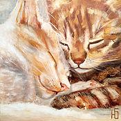 Картины и панно handmade. Livemaster - original item Painting sleeping cats, cat, cat, kittens romance, oil on canvas. Handmade.
