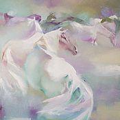 Картина с лошадьми У пруда, размер 50х70см