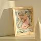 Картина- фэнтези. Сказочная картина. Авторская ручная работа. Золотая рыбка. Авторский принт холст  Авторская рамка ручной работы с росписью по дереву. Сказка в теплоте рук Коневой Алёны.