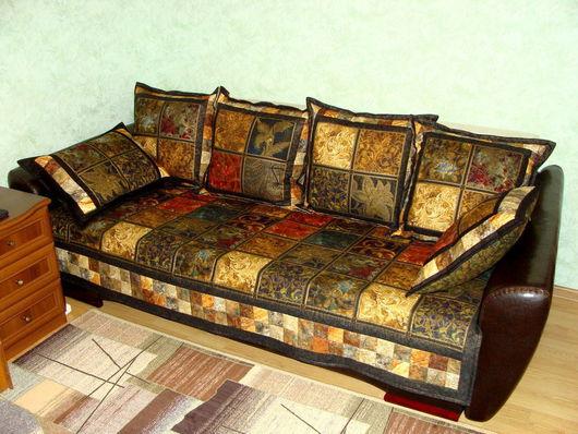 """Текстиль, ковры ручной работы. Ярмарка Мастеров - ручная работа. Купить Комплект для дивана """"Элегантные узоры"""". Handmade. Одеяло пэчворк"""