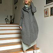 Одежда ручной работы. Ярмарка Мастеров - ручная работа Пальто-кардиган-толстовка из серого хлопкового неопрена EXTRAVAGANT. Handmade.