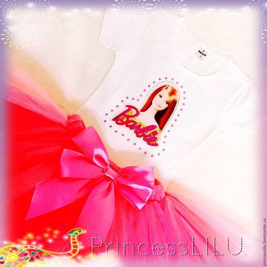 """Одежда для девочек, ручной работы. Ярмарка Мастеров - ручная работа. Купить Костюм """"Барби"""" (Barbie) (футболка или боди, юбка-пачка). Handmade."""