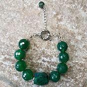 Браслет из бусин ручной работы. Ярмарка Мастеров - ручная работа Зеленый браслет из эмеральда - Миражи 2. Handmade.